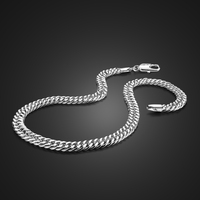 Male Fashion 7MM 22 inches 100% 925 Sterling Silver Necklaces Men Curb Chains Link Boys Choker Accessories Jewelry