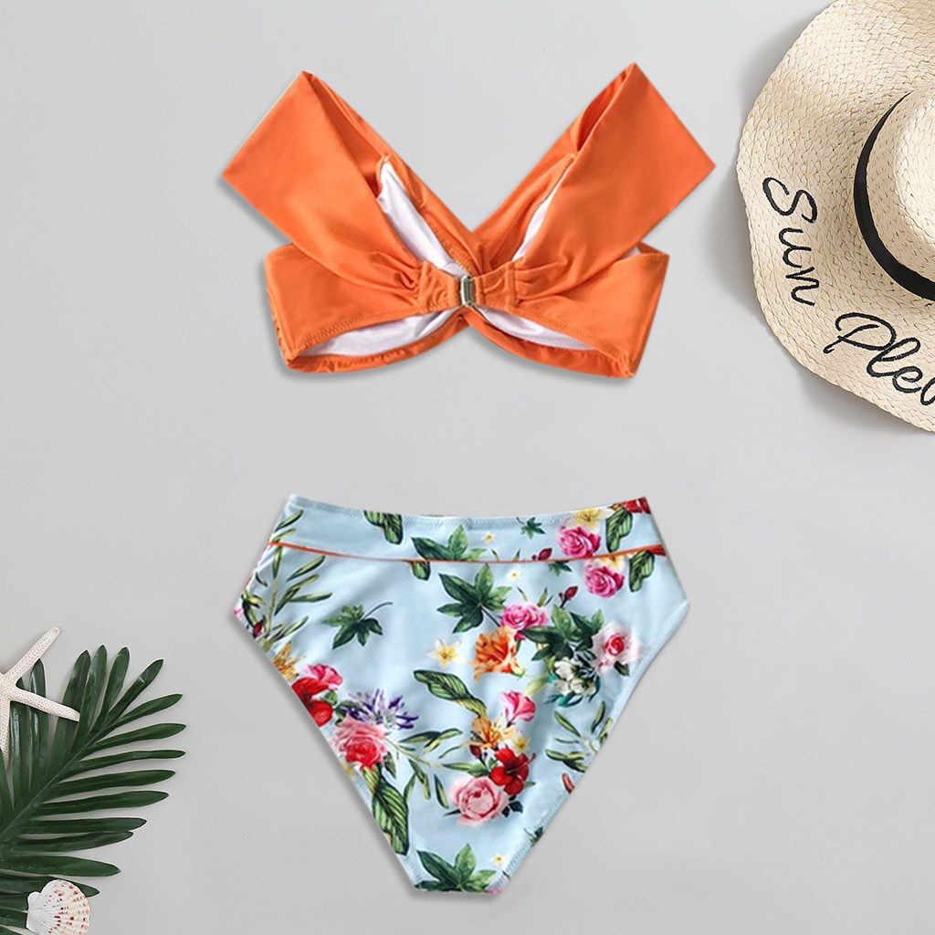 ملابس السباحة مثير مجموعة البكيني الأزهار طباعة Tankini 2020 رفع النساء Biquini الإناث البرازيلي ملابس السباحة ملابس الشاطئ 19dec