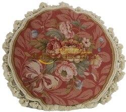 Tailbone Cushion Pillow Antique French Flower Needlepoint Decorative Handmade Decor Rug Square woolen Square Cushion