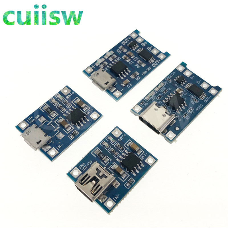 Type-c / Micro USB 5V 1A Mini 18650 TP4056 Lithium Battery Charger Module Charging Board With Protection Dual Functions Li-ion
