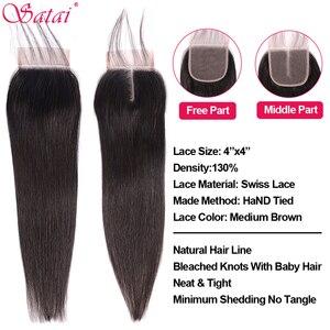 Image 5 - Satai Straight Hair Bundles With Closure Remy Human Hair 3 Bundles With Closure Brazilian Hair Weave Bundles 30 inch Bundles