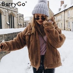 Image 4 - BerryGo Thick fluffy faux fur coat women Casual zipper soft female winter coats outwear Fake fur coat streetwear ladies jackets