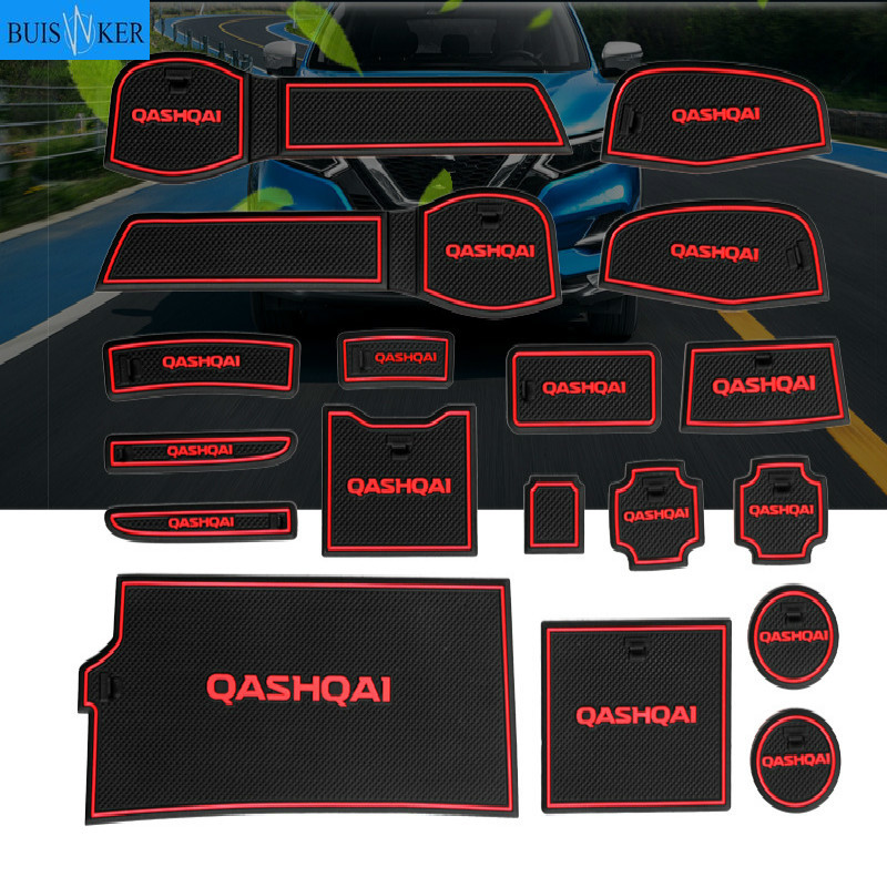 Non-slip auto Interior door gate pad cup mat for nissan qashqai j11 201918pcs lotcar accessories