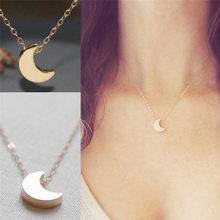 Delicate moon pendant Necklace crescent Curved moon necklace Gold Silver women Necklace ladies Jewelry Birthday Gift(China)