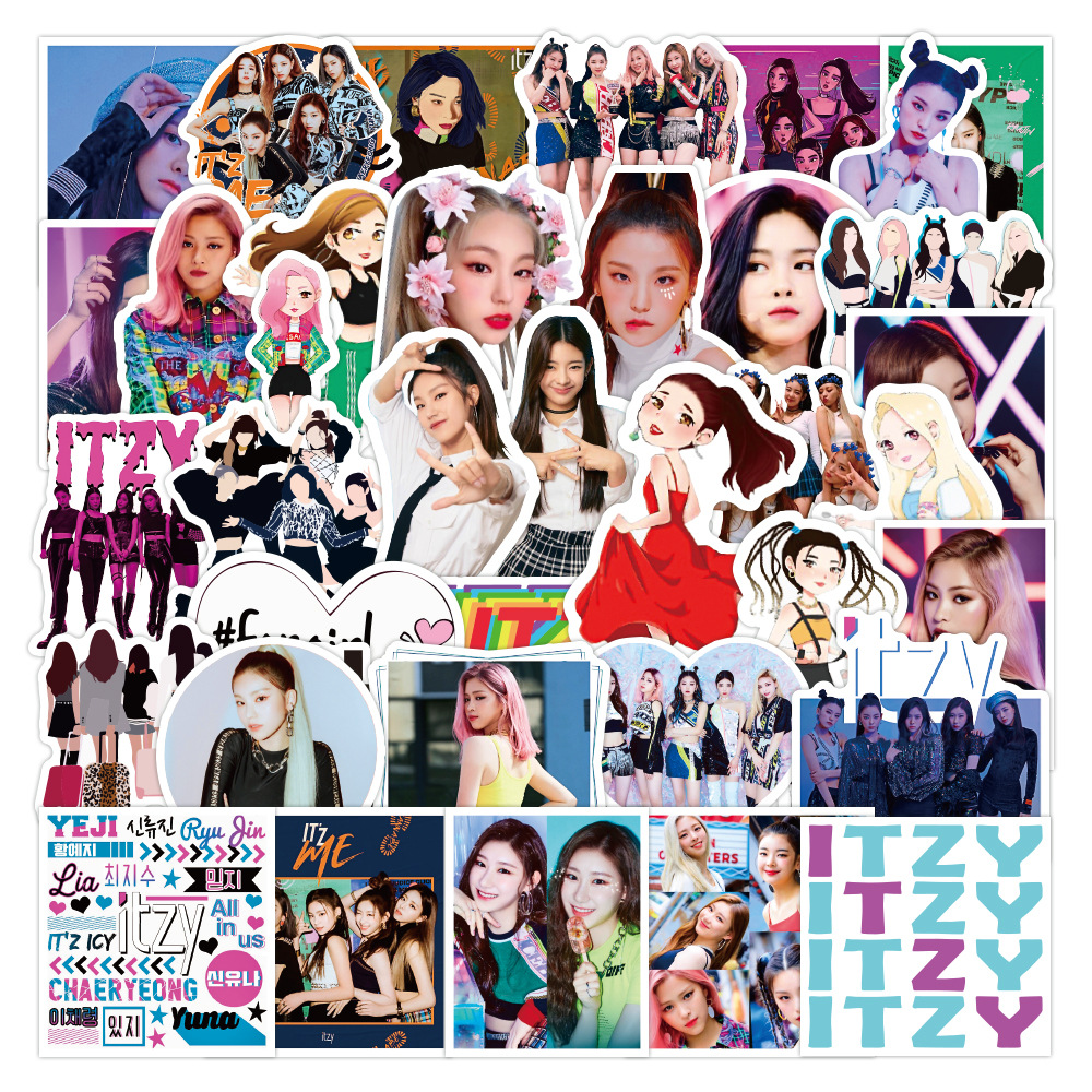 50pcs Korean Female Troupe Singer ITZY Graffiti Stickers DIY Luggage Notebook Cup Refrigerator Water