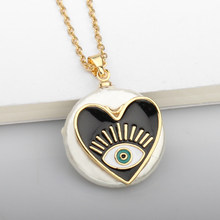 Shell Heart Turkish Evil Eye Necklace Gold Metal Stainless Steel Chain Round Pendant Necklaces For Women Fashion Jewelry(China)