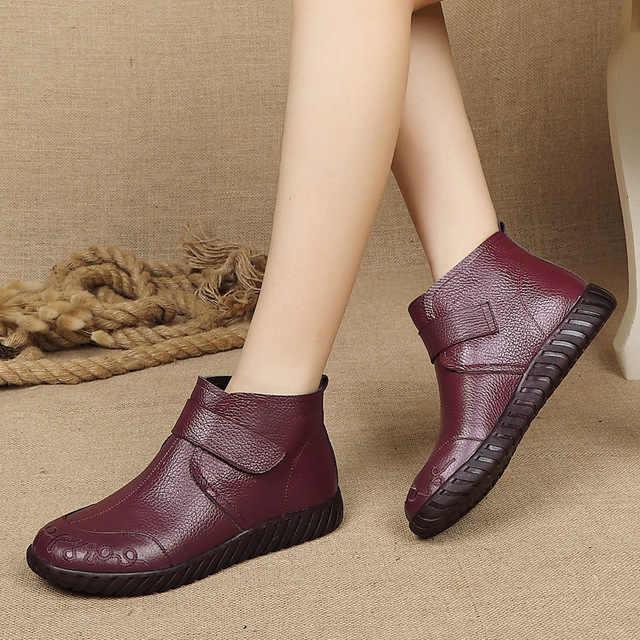 Zapatos Mujer en cuir véritable femmes bottes d'hiver à la main rétro Zip femmes bottines hiver printemps dames chaussures g934