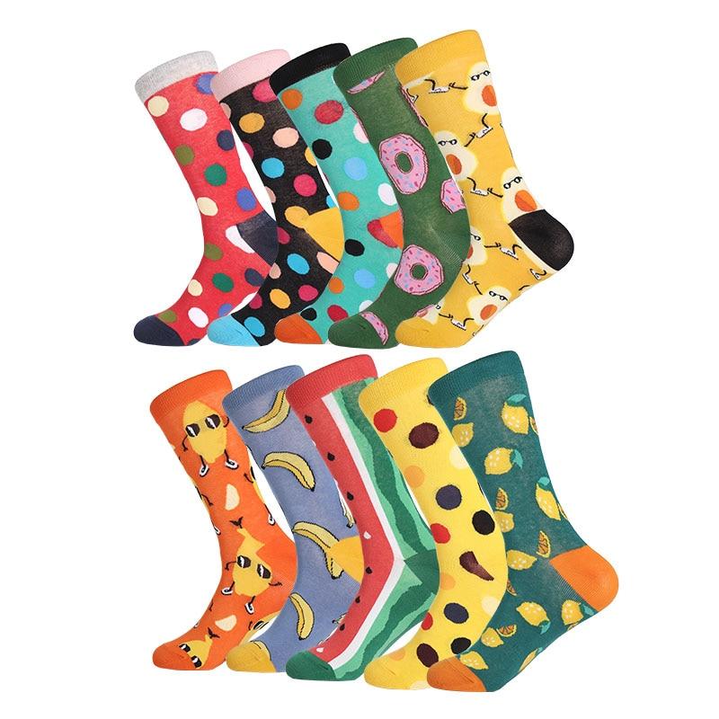 Women's Cotton Socks Watermelon Banana Lemon Donut Polka Dot Geometric Personality Cartoon Animal Short Socks Girls Lady Socks