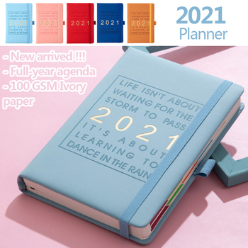 New Fashion Agenda 2021 Jan-Dec Diary English language Thicken notebook A5 Leather soft cover School planner Efficiency journal 1