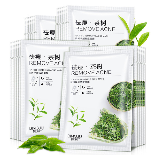 8pcs Tea Tree Cleansing Acne Mask Soothing Sensitive Oil Control Anti-Acne Moisturizing Skin Care beauty facial masks
