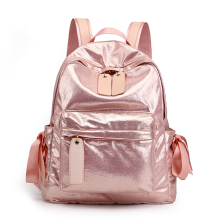 Fashion Girl's Backpack Shiny Soft Glitter Satin Gloss Light Soft Foldable Bagpack Cute Fan Popular Bags With Bow Decoration
