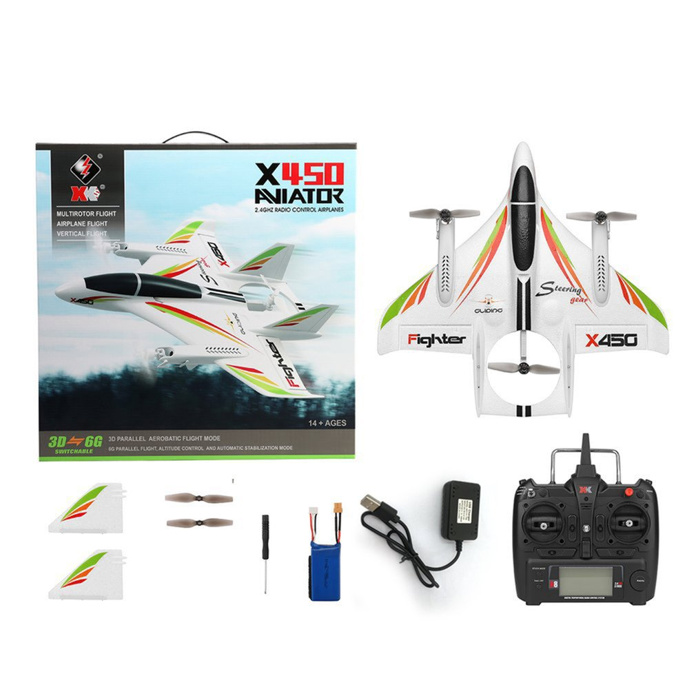 X450 3D Aerobatic RC Airplane 6 Channels Remote Control Vertical Takeoff Landing Fixed Wing Plane Helicopter Toys Drone