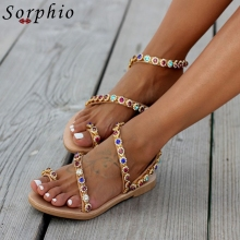 Sorphio New Arrival Ins Hot Colorful Rhinestone Sandals Summer Low Heel Sandals Women Rome Casual Flat Gladiator Shoes Woman new arrival feather fur slippers women peep toe colorful rhinestone diamond flat shoes woman gladiator sandals