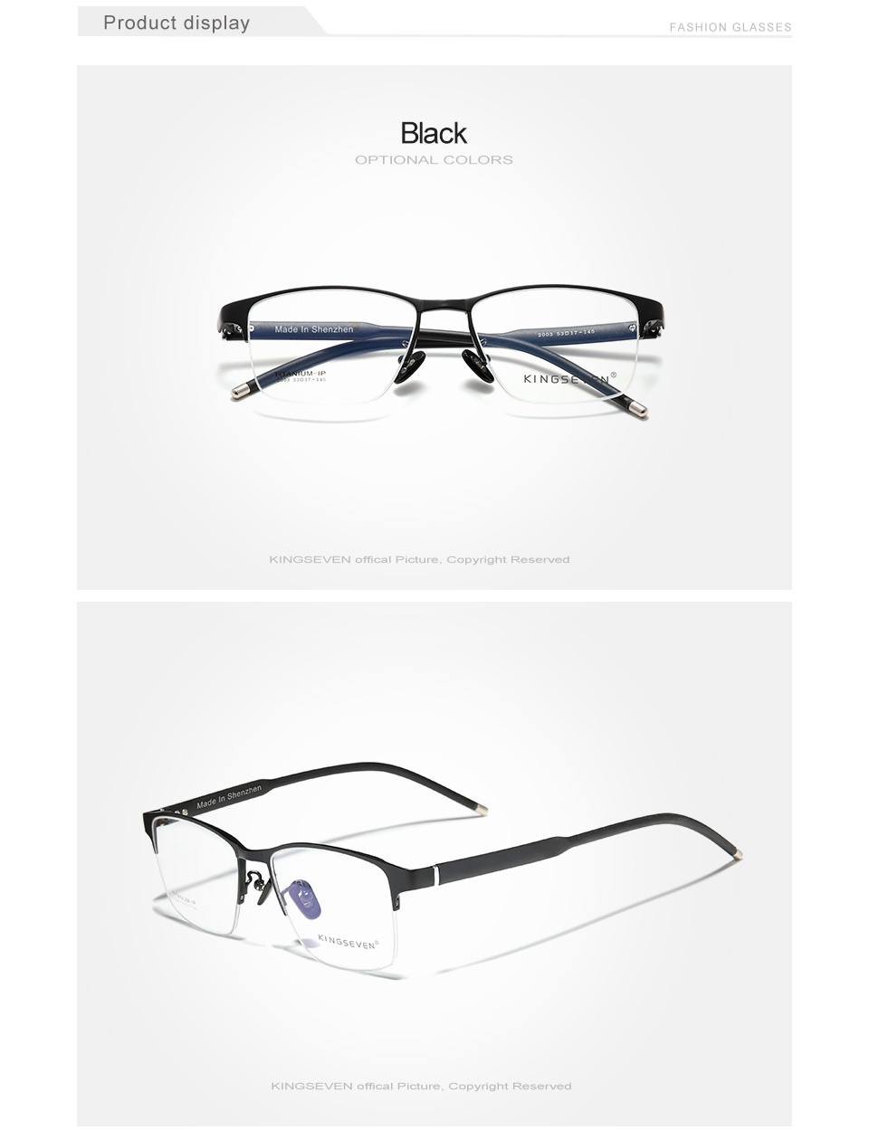 KINGSEVEN Pure Titanium Optical Glasses Frame Men 2020 Square Myopia Prescription Eyeglasses Male Metal Eyewear