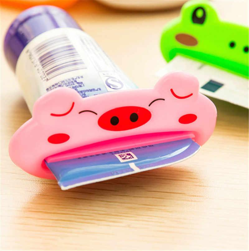 2PCS 동물 쉬운 치약 디스펜서 플라스틱 치아 붙여 넣기 튜브 압착기 유용한 치약 롤링 홀더 홈 욕실에 대 한