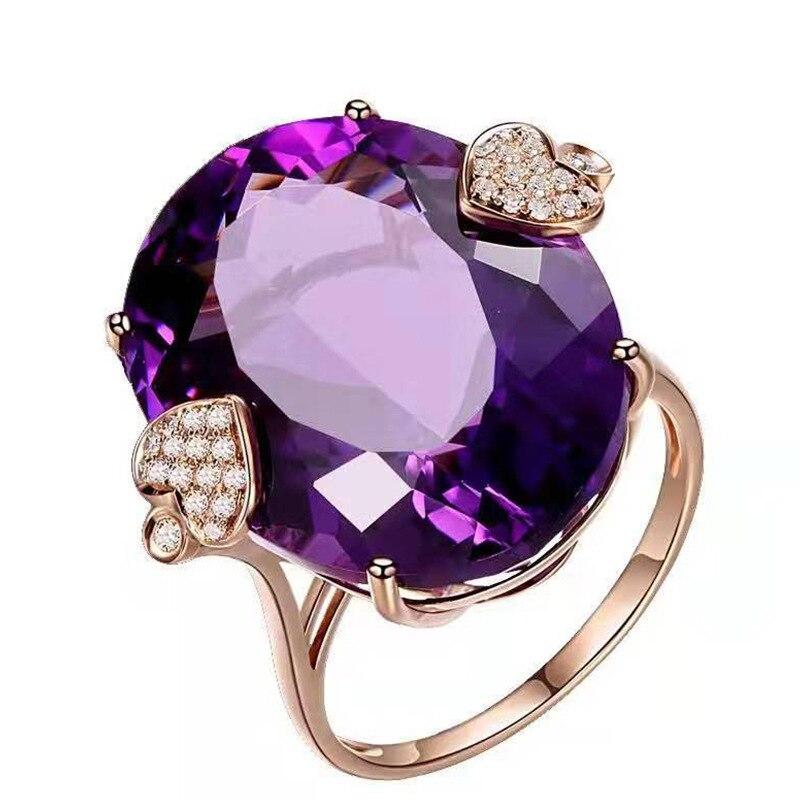 Female Vintage Rose Gold Purple Crystal Goose Egg Shape Ellipse Rhinestone Engagement Ring For Women Fashion Jewelry
