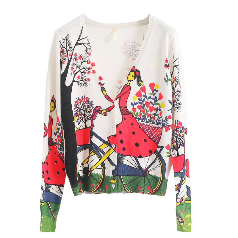 Floral Print Knit Sweater Women Spring 2020 Female Casual Long Sleeve Single Breast Cardigan Knitted Sweaters Coat Femme Clothes