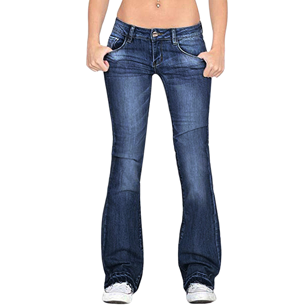 OEAK 2019 New Womens Fashion Jeans Button Slim Show Thin Casual Pants Jean Female Flared Trousers Wide Denim Skinny Pants