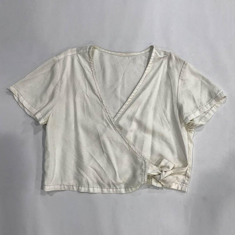 Automne hiver femmes Denim fantaisie chemise Kimono décontracté manches courtes 100% coton lavé blanc femme Blouse Top