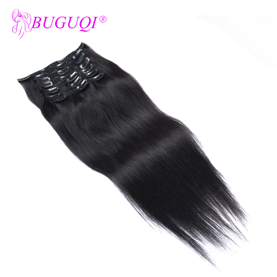 BUGUQI Hair Human-Hair-Extensions Made-Clip Natural-Black Malaysian Remy-16-26inch 100g-Machine