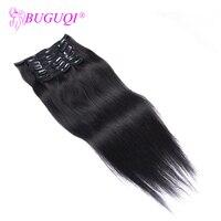 BUGUQI Hair Clip In Human Hair Extensions Malaysian Natural Black Remy 16 26 Inch 100g Machine Made Clip Human Hair Extensions