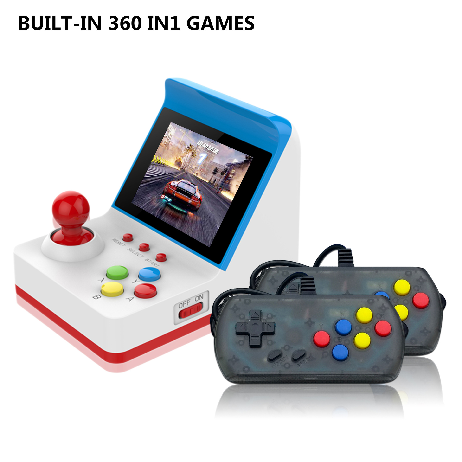Cross boundary Exclusive A6 Retro Mini FC Game Arcade Red and White Machine Built in 360 Double Handle Retro Handheld Handheld Game Players     - title=