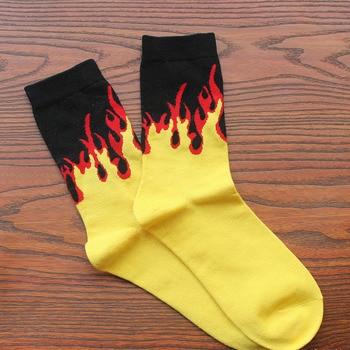 Red Yellow Flame Crew Socks Lifelike Fire Socks Men Hip Hop Design Classic Street Skateboard Cotton Long Unisex Socks 9
