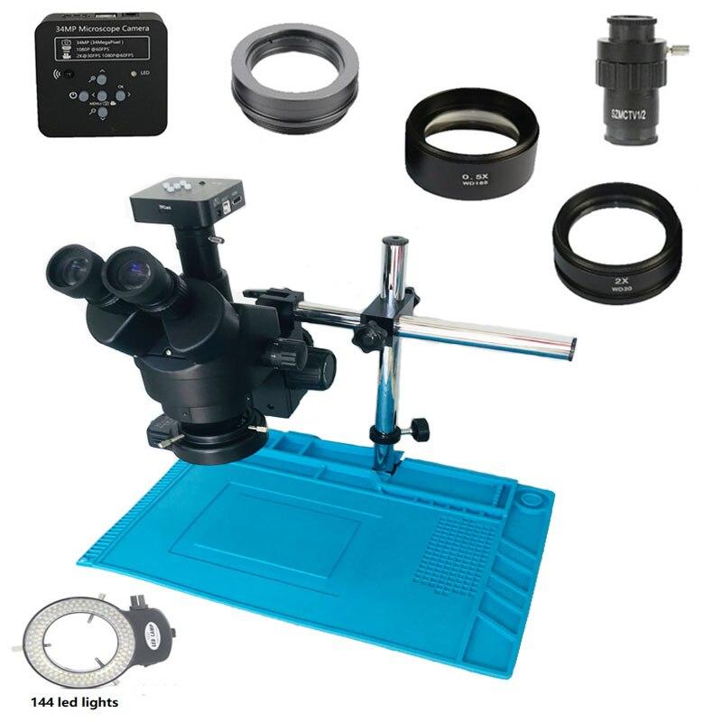 34MP HDMI USB appareil photo numérique 7-45X simul-focal trinoculaire soudure stéréo Zoom Microscope 0.5X 2.0X objectif pour réparation de téléphone