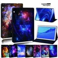 For Huawei MediaPad T3 8.0 /T3 10 9.6 /T5 10 Leather Tablet Stand Folio Cover-Star space tablet Stand Case For Honor Play Pad
