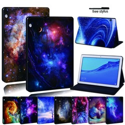 Dla Huawei MediaPad T3 8.0 /T3 10 9.6 /T5 10 skórzany stojak na Tablet Folio Cover-Star space tablet stojak na Honor Play Pad
