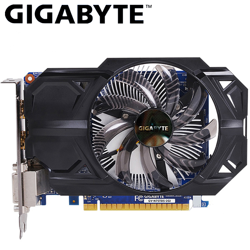 Carte vidéo GIGABYTE GTX 750 Ti 2GB GDDR5 128 bits avec carte graphique NVIDIA GeForce gtx 750 ti GPU pour PC Hdmi Dvi cartes VGA utilisées