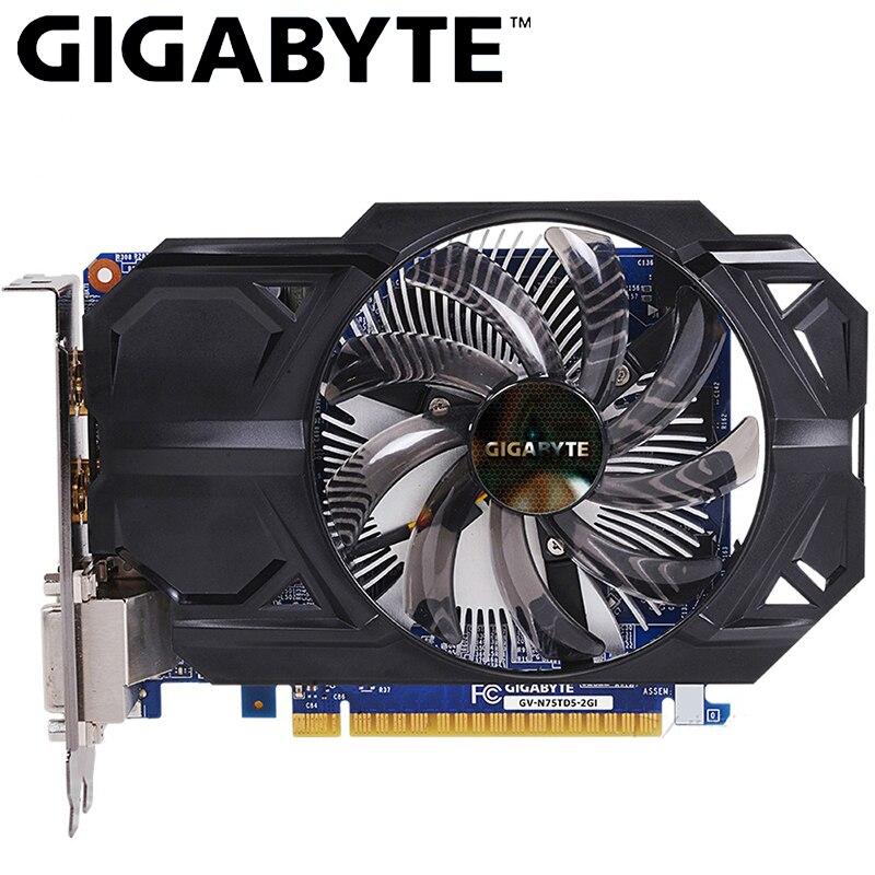 Placa de vídeo gtx 750 ti de gigabyte 2 gb gddr5 128 bit com placa de vídeo de nvidia geforce gtx 750 ti gpu para o pc hdmi dvi usou cartões vga