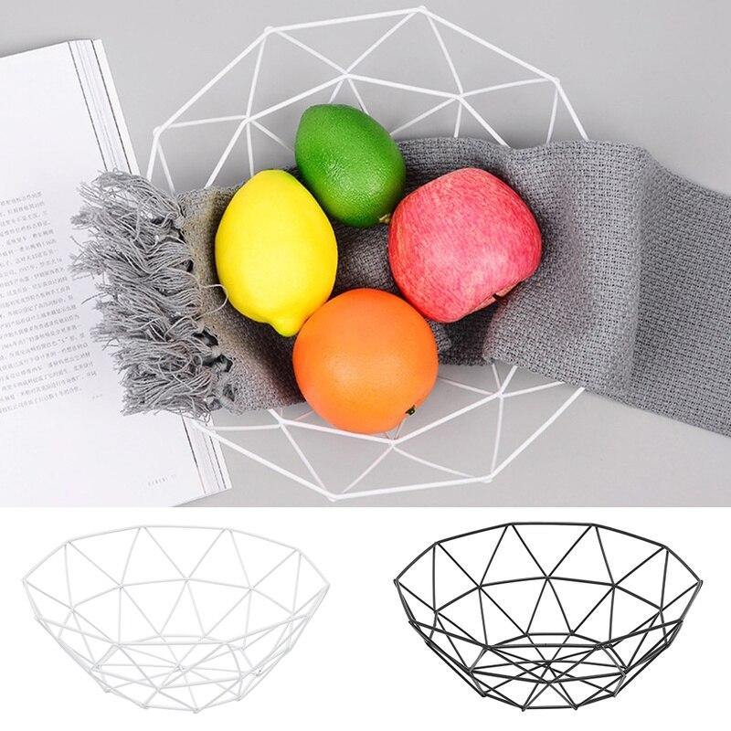 Fruit Basket Container Bowl Metal Wire Basket Kitchen Drain Rack Vegetable Storage Holder Snack Tray Home Table Organization