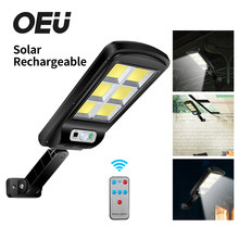 Lámpara de pared luz LED Solar con Sensor de movimiento al aire libre, luz de inundación con Control remoto, iluminación de calle exterior, luz Solar impermeable