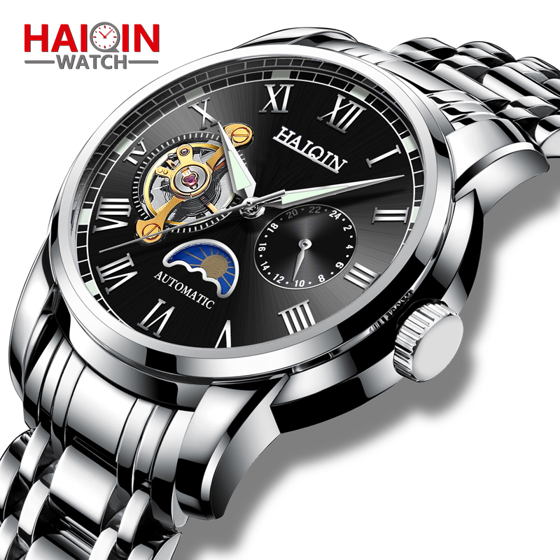 Automatic Machinery Men's Watches HAIQIN 2019 New Top Luxury Brand Watch Men Business Steel Clock Men Moon Watch Reloj Hombre