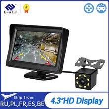 E-ACE 4.3 Cal HD kolor cyfrowy Monitor samochodowy wyświetlacz TFT LCD kamera cofania System parkowania dla kamery cofania