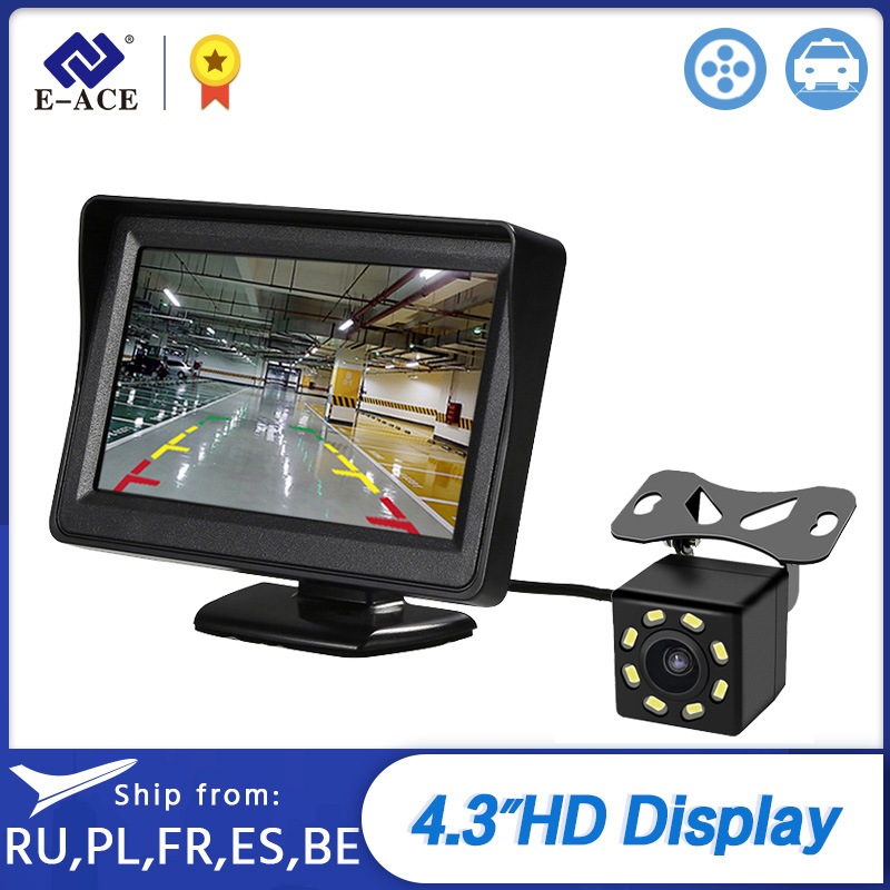 E-ACE <font><b>4.3</b></font> <font><b>Inch</b></font> HD Digital Color Car <font><b>Monitor</b></font> TFT LCD Display Reverse Camera Parking System For Rear View Camera image