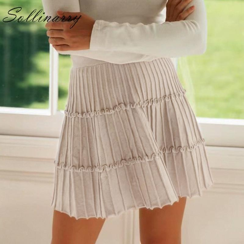 Image 2 - Sollinarry 2019 Knitwear Short Skirts Women Autumn Retro Solid Casual Ruffles Mini Skirts Female High Waist Winter Sexy Skirts-in Skirts from Women's Clothing