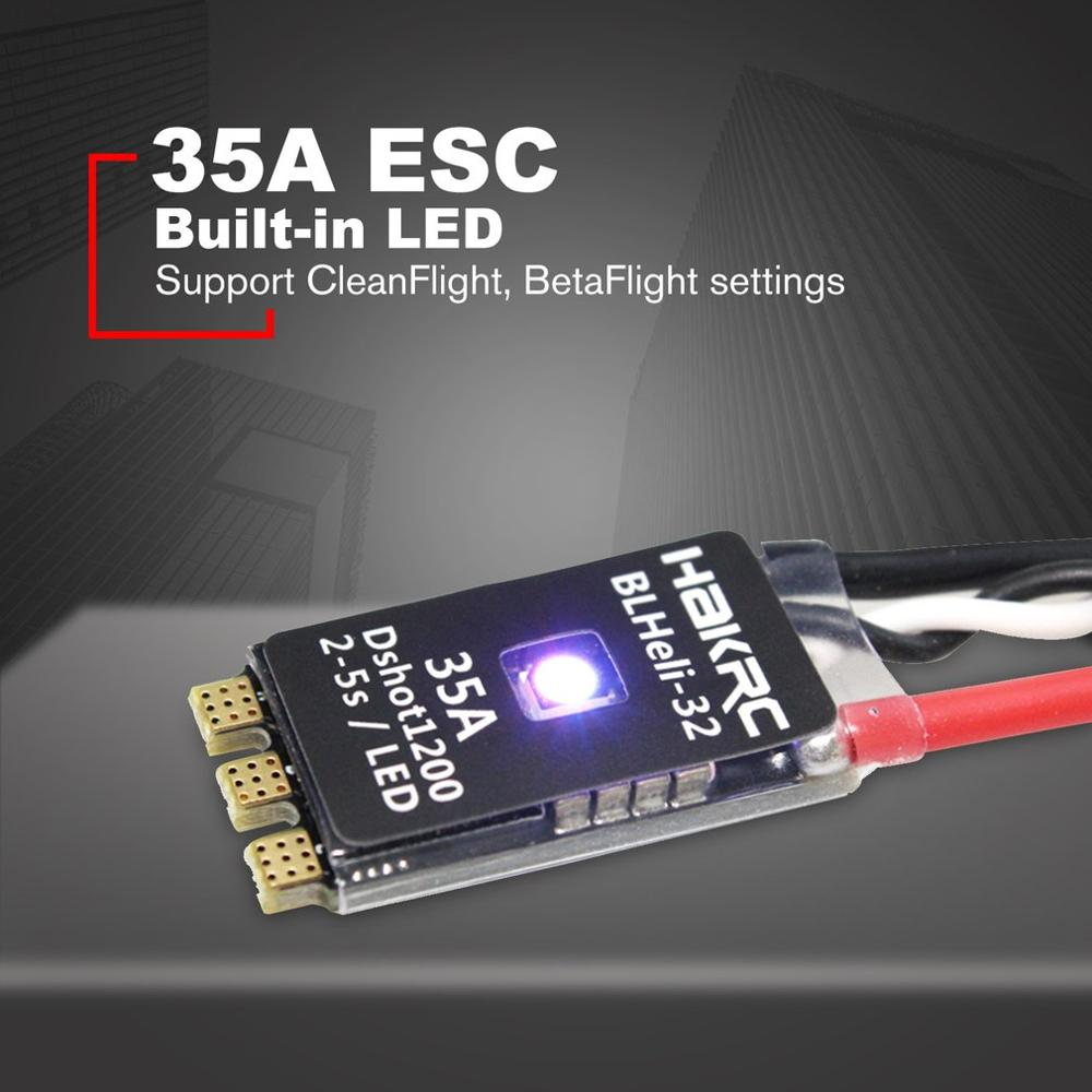 HAKRC BLHeli_32 Bit <font><b>35A</b></font> 2-5S <font><b>ESC</b></font> Built-in LED Support Dshot1200 Multishot for FPV RC Drone Aircraft Part Accessory image