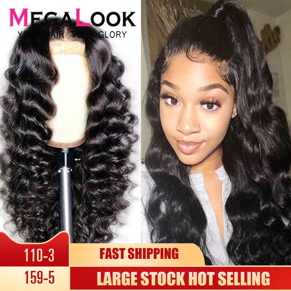 Loose Wave Wig Lace Front Human Hair Wigs 28 Inch Remy 13X4 Preplucked Lace Wig Peruvian Wig Human Hair Transparent Lace Wigs