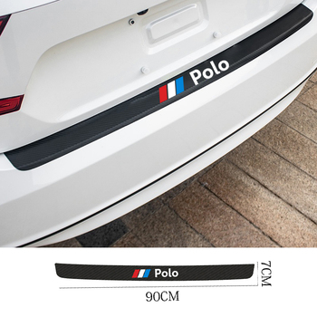 Auto Rear Bumper leather Stickers For Carbon Fiber Protector Car Trunk Guard Plate Film for Volkswagen VW POLO  accessories car stickers exterior accessories for volkswagen vw golf7 exterior trunk scuff plate rear door protector car styling auto parts