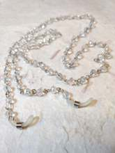 CLEAR Aurora Borealis Czech Glass Beads, Linked Silver Wire Eyeglass Chain
