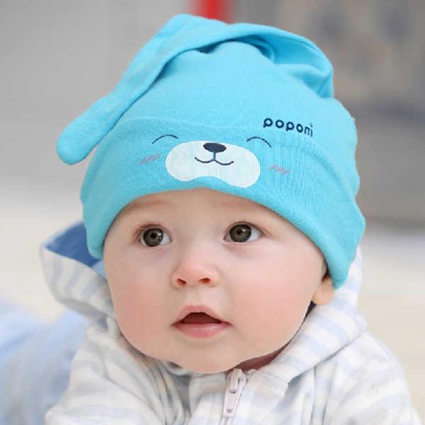 Autunno Appena Nato Del Bambino Delle Ragazze Dei Ragazzi Del Cappello Del Cotone Sveglio Dell'orso Del Fumetto Del Modello di Colore Solido Confortevole di Alta Qualità di Sonno Copricapi Cappello