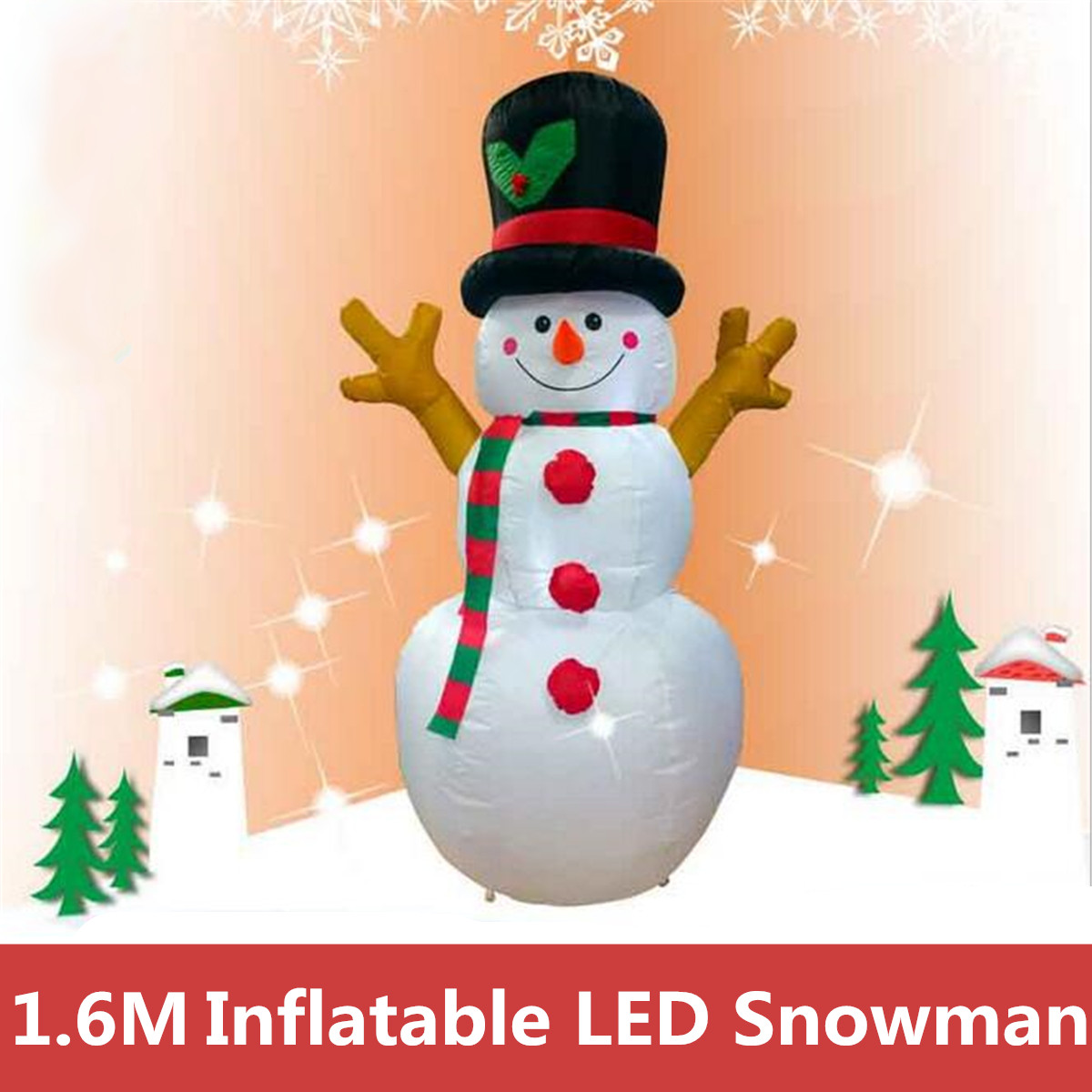 1.6M Christmas Snowman LED Inflatable Model Snowman Doll Broom Cover Christmas Decoration Dressing