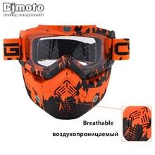 Vintage Face Helmet Mask Detachable Motocross Goggles Scooter Jet Helmets Goggles Mask Motocross Goggles Sun Ski Skate Glasses