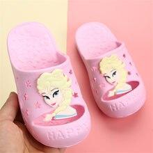 Disney Frozen-zapatos de Elsa para niñas y niños, Sandalias planas de princesa de dibujos animados, zapatillas exteriores con lazo