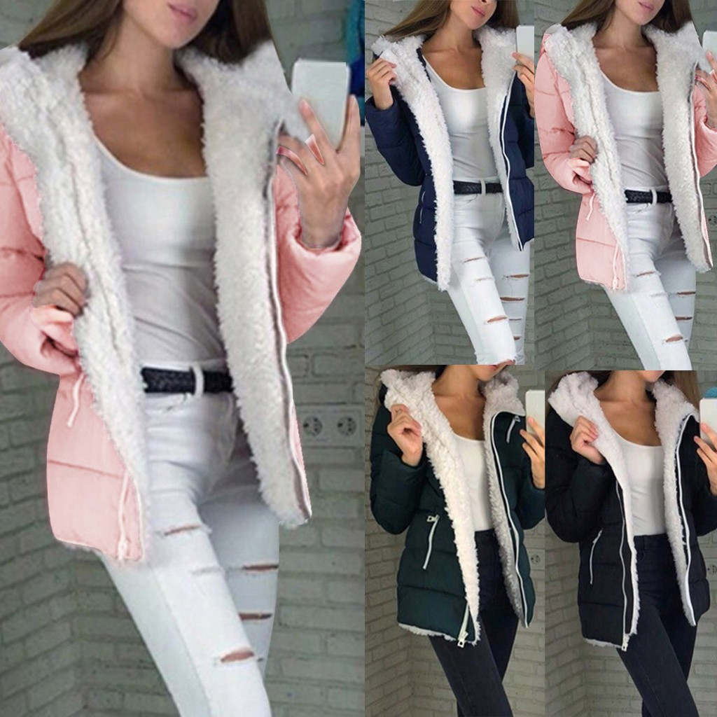 Coat Women Outerwear Warm Jacket Zipper Thicken Winter Fashion Long-Sleeve title=