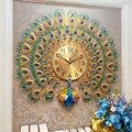 Pavões, relógios, sala de estar, moda familiar, grandes relógios europeus, decoração de parede relógios, criativo relógio de quartzo silencioso