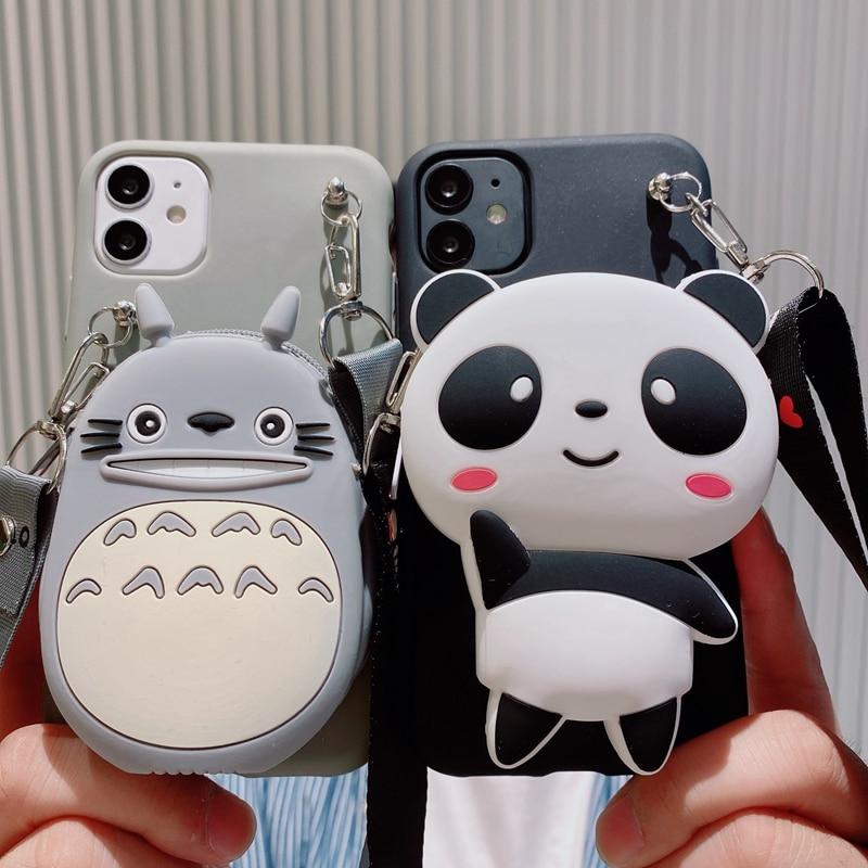 Cute 3D Panda Wallet Case For Samsung Galaxy S21 S9 S8 Plus S10 Lite S10E S6 S7 Edge S20 Ultra FE Soft Silicone Lanyard