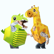 New 3D Children's Toys DIY Handmade Carton Dinosaur Animal Clothes Cute Role Playing Kids Gift Performance Props